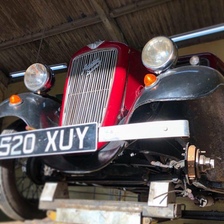 Austin Seven Ruby having its brake linings renewed - Wight Classics